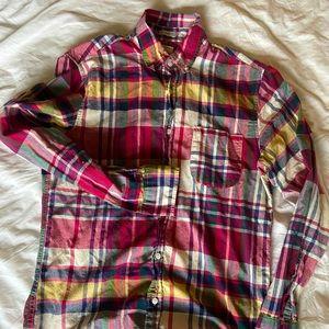 J.Crew slim Madras/cotton button down shirt- M